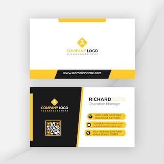 Design de cartão de visita de cor amarela
