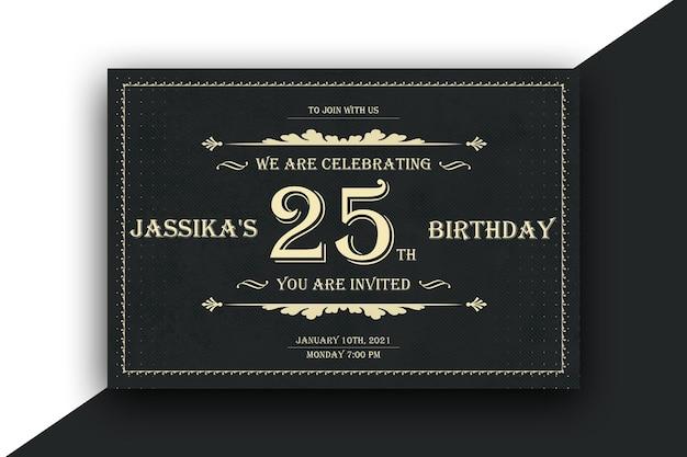 Design de cartão postal de convite de aniversário