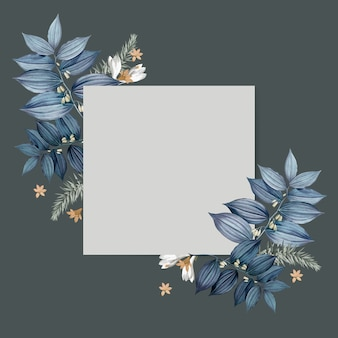 Design de cartão quadrado em branco floral azul