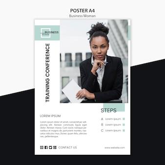 Design de cartaz com conceito de mulher de negócios