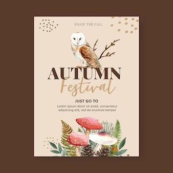Design de cartaz com tema outono com conceito de plantas, modelo de ilustração criativa coruja da noite