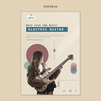 Design de cartaz de aulas de guitarra elétrica
