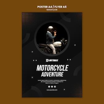 Design de cartaz de aventura de motocicleta