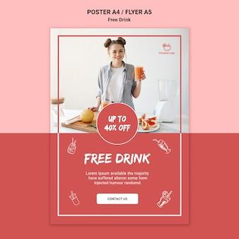 Design de cartaz de bebida grátis