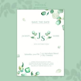 Design de cartaz de casamento minimalista