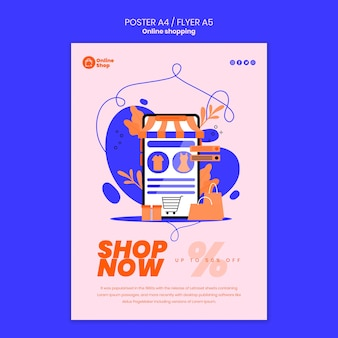 Design de cartaz de compras online