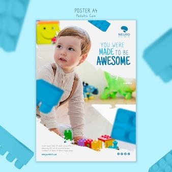 Design de cartaz de cuidados pediátricos