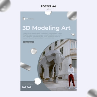 Design de cartaz de curso de modelagem 3d
