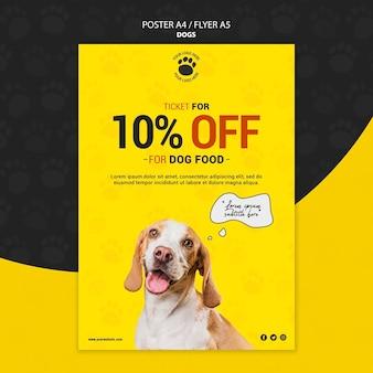 Design de cartaz de desconto de comida de cachorro