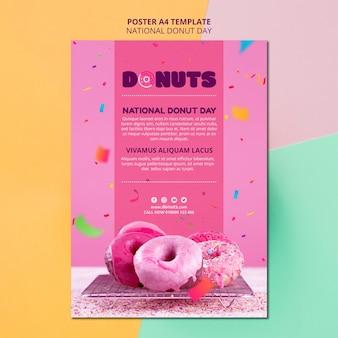 Design de cartaz de dia nacional da rosquinha