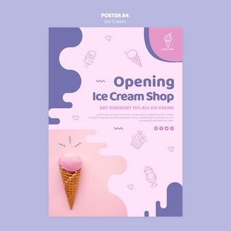 Design de cartaz de loja de sorvete de abertura