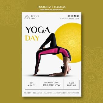 Design de cartaz de meditação e atenção plena