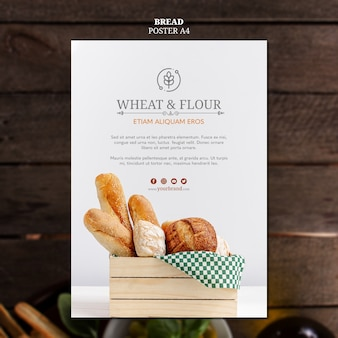 Design de cartaz de pão de trigo e farinha