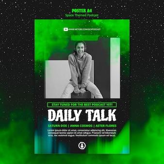 Design de cartaz de podcast com tema de espaço