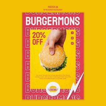 Design de cartaz de restaurante retrô hambúrguer