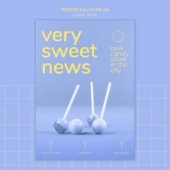 Design de cartaz para modelo para loja de doces