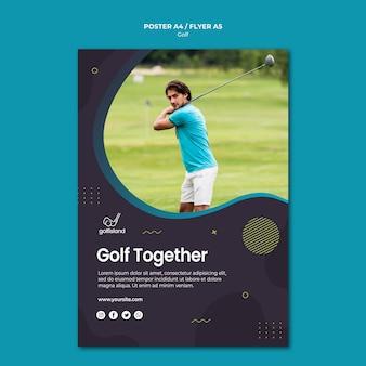 Design de cartaz praticando golfe