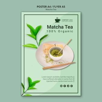 Design de chá matcha para modelo de panfleto