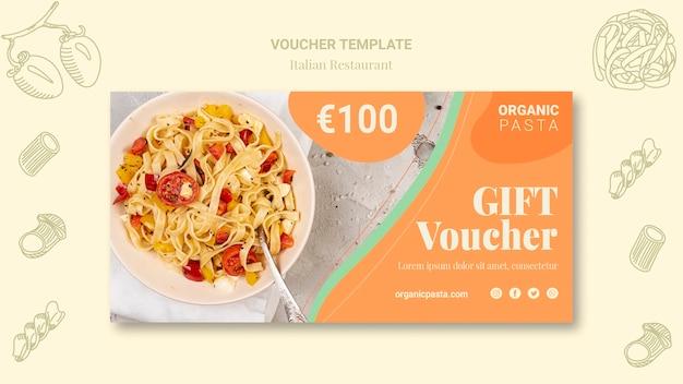 Design de comprovante de restaurante italiano