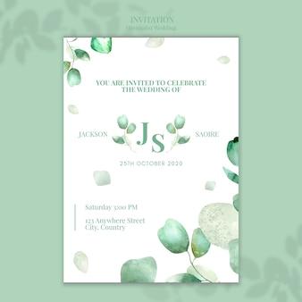 Design de convite de casamento minimalista
