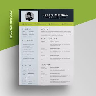 Design de currículo de negócios com modelo de destaque em preto verde