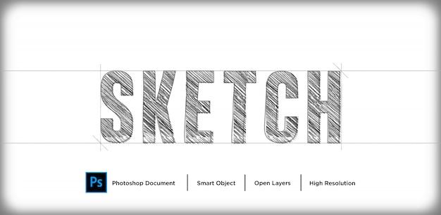 Design de efeito de texto de desenho a lápis
