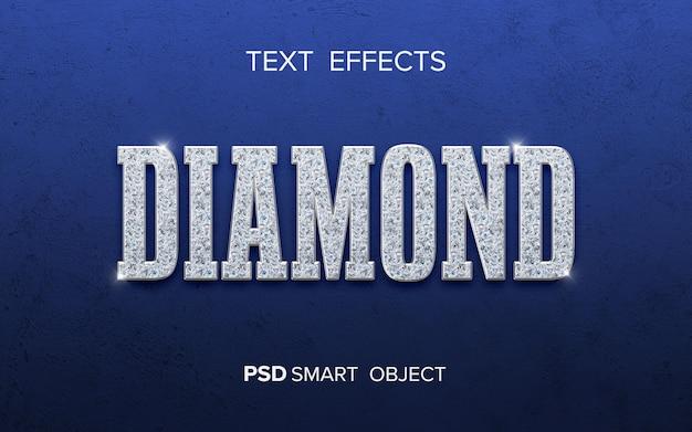 Design de efeito de texto de diamante