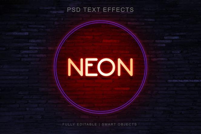 Design de efeito de texto de estilo de círculo de néon