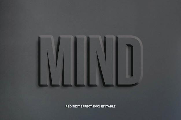 Design de efeito de texto de tipografia de mente