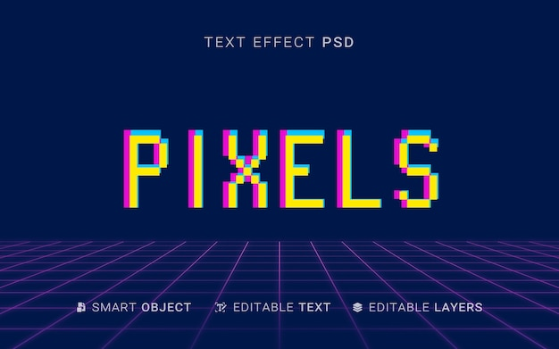 Design de efeito de texto em pixels