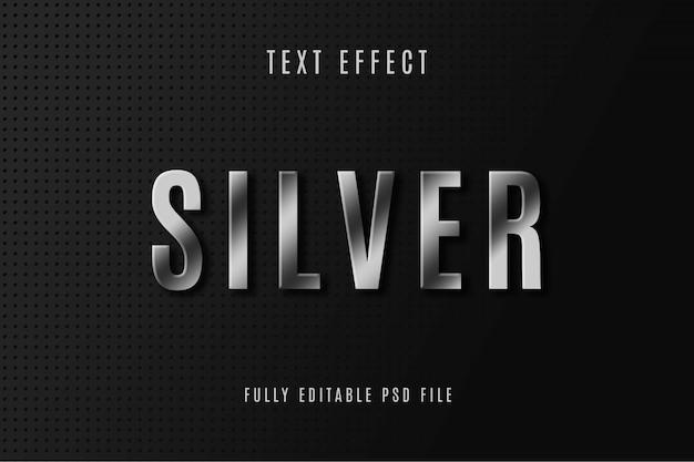 Design de efeito de texto prateado
