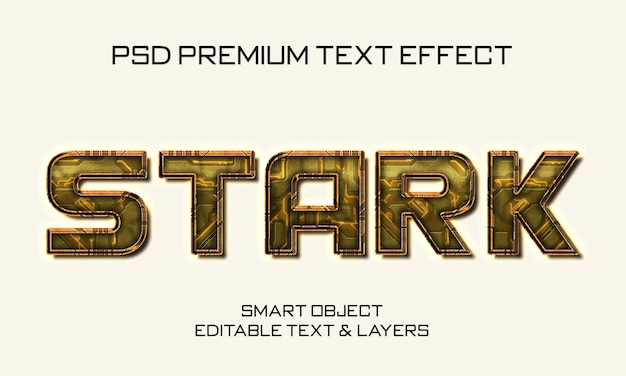 Design de efeito de texto stark scifi