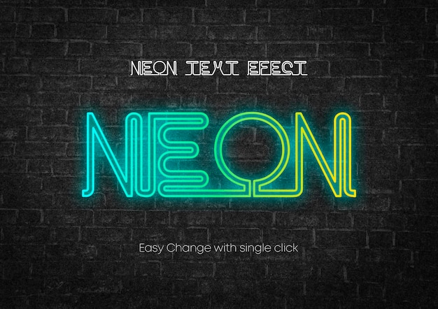 Design de efeitos de texto em estilo de texto neon