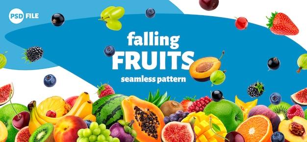 Design de embalagem de frutas e bagas em queda