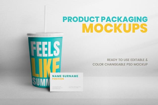 Design de embalagem psd de maquete de copo descartável colorido