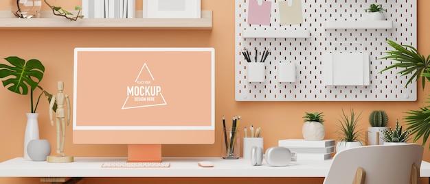 Design de escritório em tons pastel na cor laranja com prateleira para computador de mesa na parede e espaço de cópia