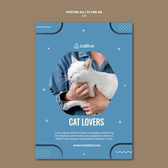 Design de folheto conceito gato amante