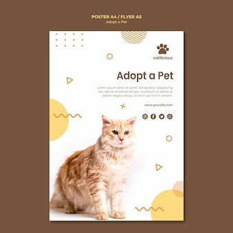 Design de folheto de adoção de animais de estimação