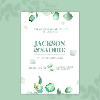 Design de folheto de casamento minimalista