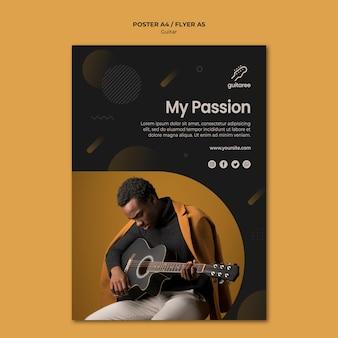 Design de folheto de jogador de guitarra