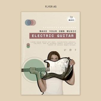 Design de folheto de lições de guitarra elétrica