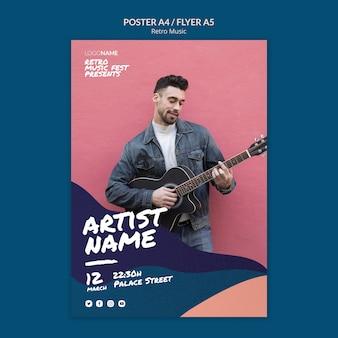 Design de folheto de música retrô