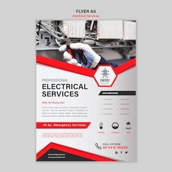 Design de folheto de serviços elétricos
