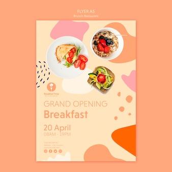 Design de folheto para café da manhã de inauguração