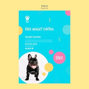 Design de folheto para venda de comida de cachorro