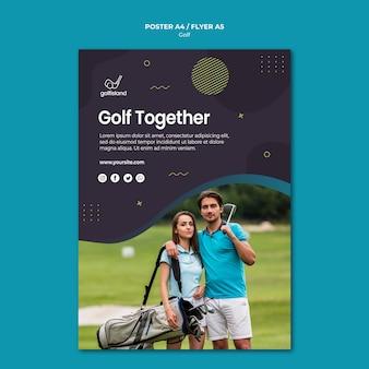 Design de folheto praticando golfe