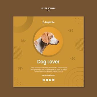 Design de folheto quadrado amante do cão