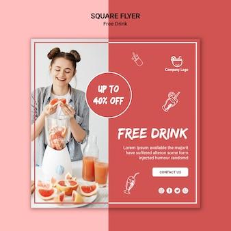Design de folheto quadrado bebida grátis