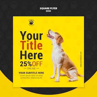 Design de folheto quadrado cachorro fofo