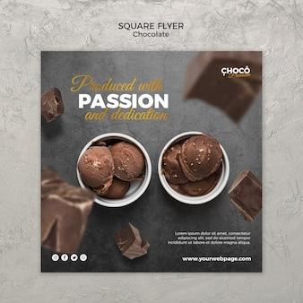 Design de folheto quadrado conceito chocolate